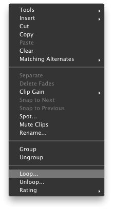 Right-clicking to choose '˜Loop...' from the pop-up menu