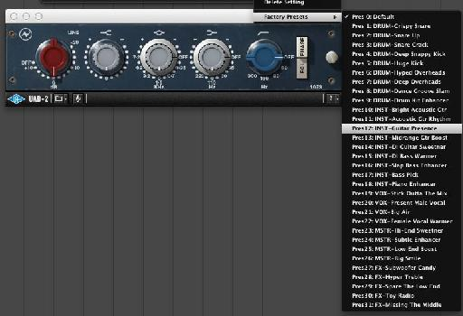 Using presets as quick starting point (Universal Audio's Neve 1073 EQ plug-in shown)