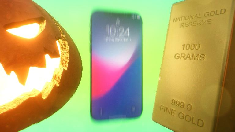 Halloween meets a moving iPhone meets a gold bar, just because you can