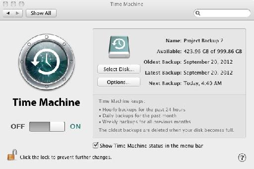 Figure 3: The Time Machine setup pane.