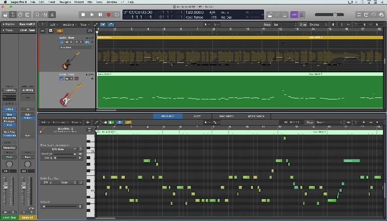 A new MIDI track converted from the Flex-Pitched audio track just above