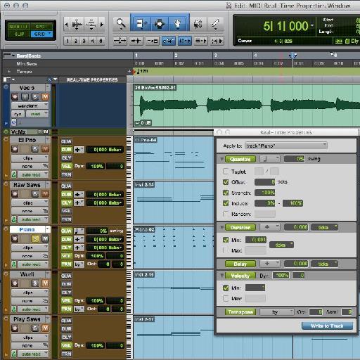 Figure 3 : Edit window track-based MIDI Real-Time Properties display