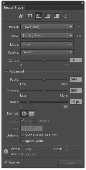Here's the Image Trace panel with the option you're about to look for.