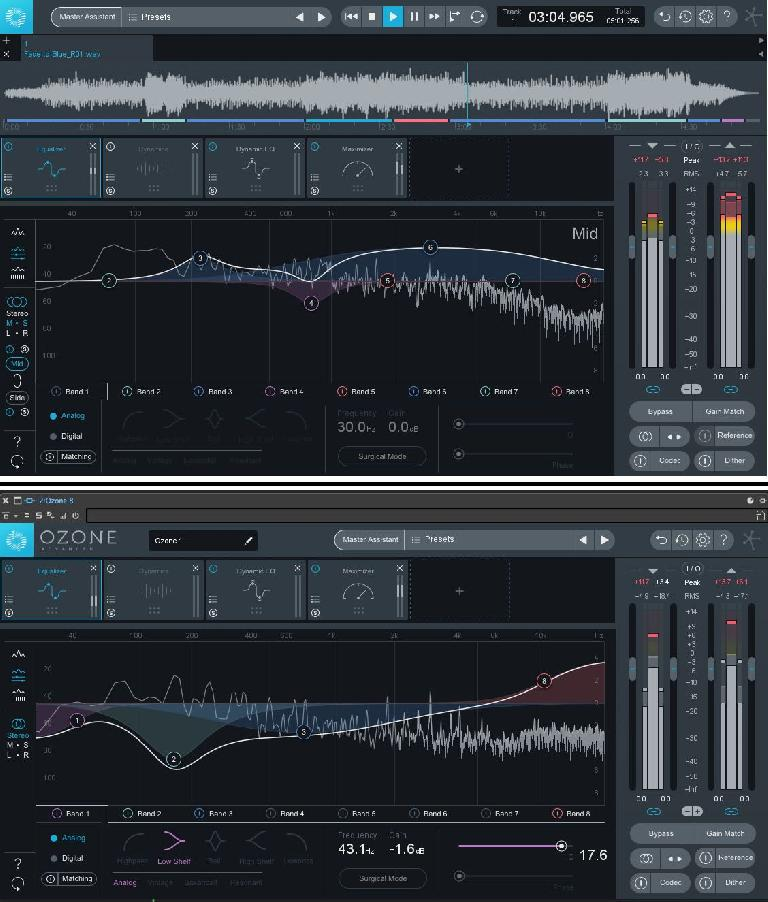 Ozone 8 standalone (top) and plug-in (bottom) appearance.