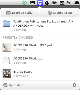 Here's the Dropbox menu, showing files recently uploaded and shared.
