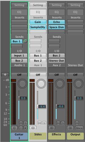 Routing setup in Logic's mixer.