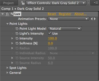 settings for Point lights