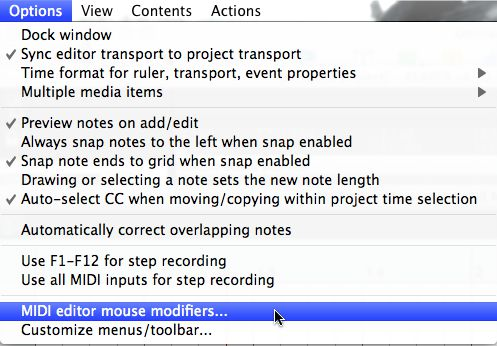 MIDI Editor Mouse modifiers