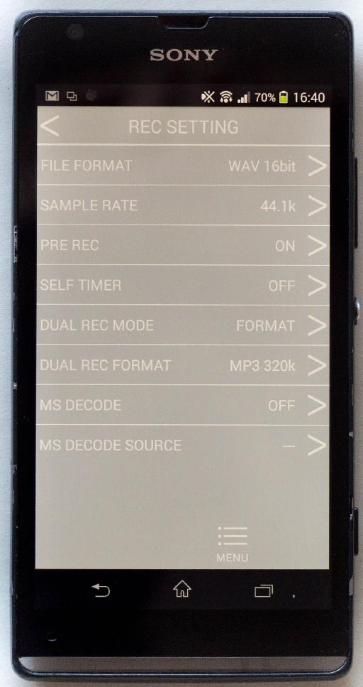 Another limitation of the app is that recordings made at 96 kHz cannot be streamed back to your phone for review. As a work around you can record your test audio at a lower sample-rate and then switch to 96 kHz when you're ready to go for a real take. Thankfully the app allows easy access to these recording settings.