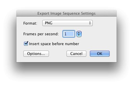 Click the '˜Options' button to choose image format and the number of frames per second that will be created.