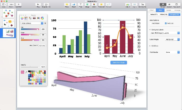In Keynote, every slide is the same size and no data sheets are visible
