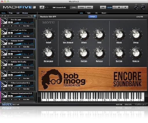 MOTU Bob Moog Foundation Encore Soundbank GUI.