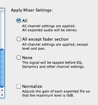 The three Mixer export options