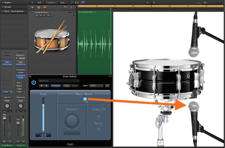 "Flipping the ""Phase"" (really Polarity) on a bottom snare mic will preserve a fuller tone"