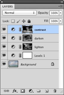 layers panel with contrast painted