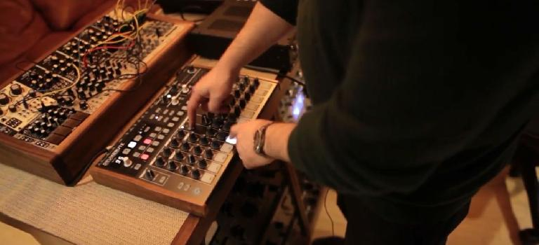 Paul Godfrey playing the Arturia DrumBrute analog drum machine.