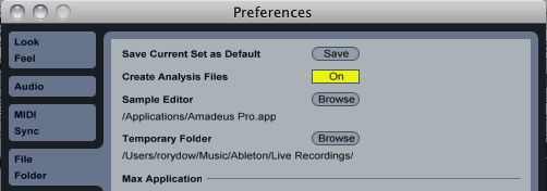 Ableton's Save Set as Default option is hidden in the Preferences panel.