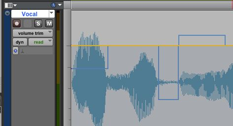 Volume trim track view - the original automation is in blue, the trim in yellow