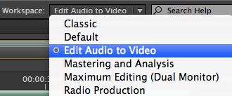 Audio to video workspace.