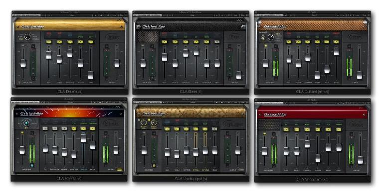 Fig 1 The Waves CLA (Chris Lord-Alge) Signature Series plug-ins (clockwise, from top left): CLA Drums; CLA Bass; CLA Guitars; CLA Vocals; CLA Unplugged; CLA Effects.