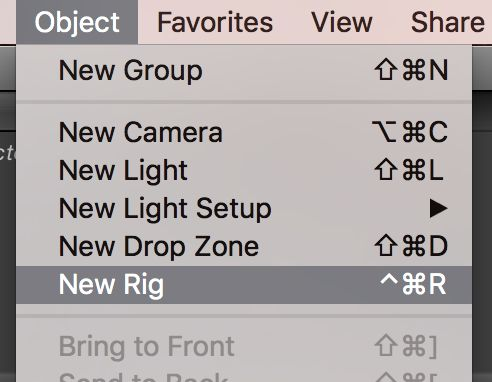 Look in the Object menu to make new items, including Rigs.