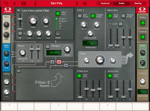 Thor for iPad: The knobs sections