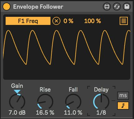 Envelope Follower with a kick drum as input, controlling the filter frequency of an Analog instance on a different track with an eighth-note offset