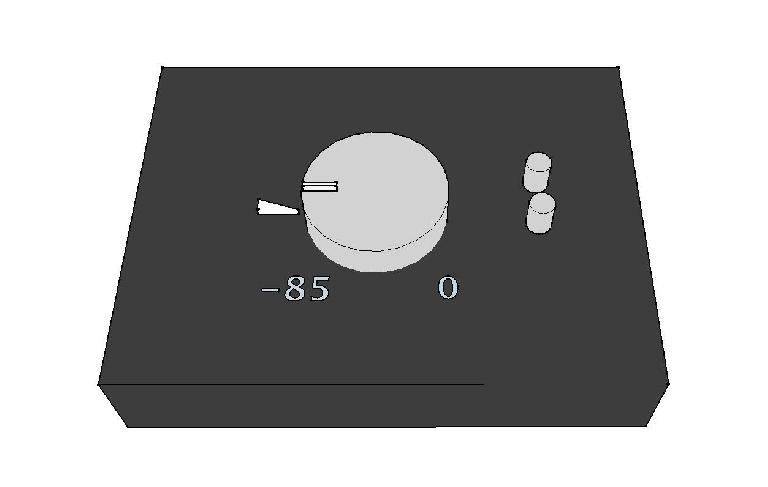 A calibrated monitor controller marked at the point where the reference pink noise signal measures a specific SPL at the mix position for both speakers.