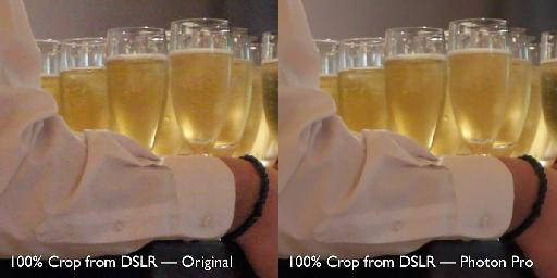 DSLR footage (at a wedding, after dark) before and after Photon Pro.