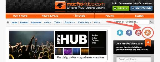 The RSS button that enables you to subscribe to the macProVideo hub.