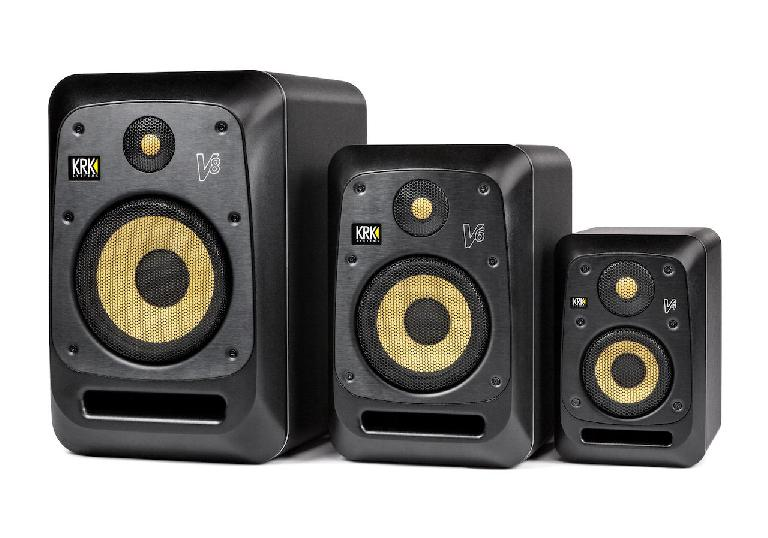The new KRK V Series monitors with optional grill protection.