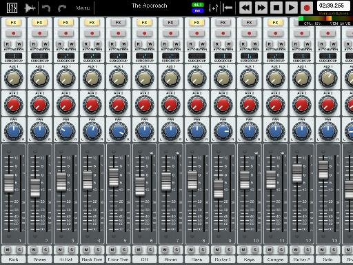 Auria's mixer might look familiar if you're used to real hardware
