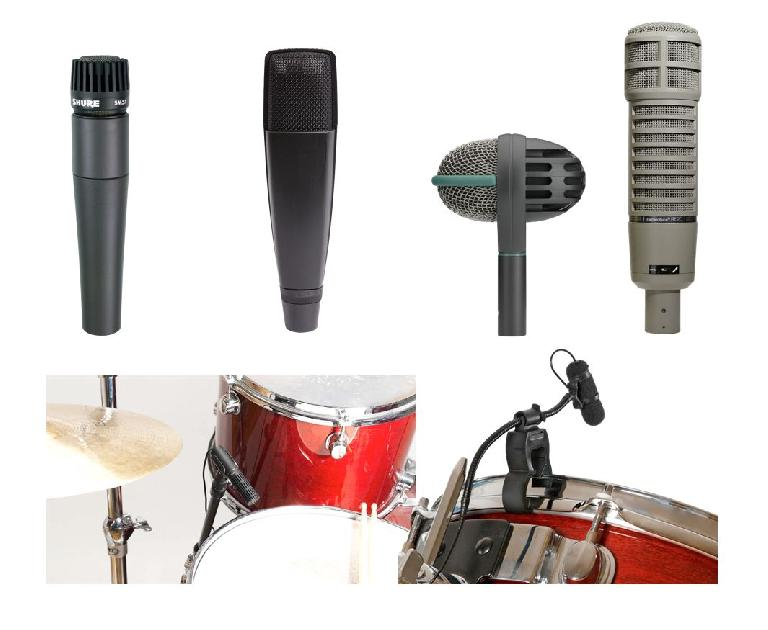 Fig 2 Top: Standard dynamic drumkit close mics (L-R): Shure SM57, Sennheiser 421, AKG D112, ElectroVoice RE-20; Bottom: DPA miniature condensers as close mics on a drum kit