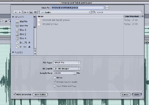 Specific audio export options are also available