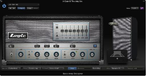 A bass Amp plug-in (Logic's Bass Amp Designer) modeling an Ampeg SVT, including a studio compressor and EQ.