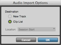 Choose 'Clip List' in the 'Audio Import Options' dialogue.