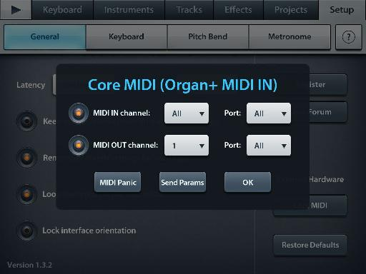 Some apps don't support MIDI out