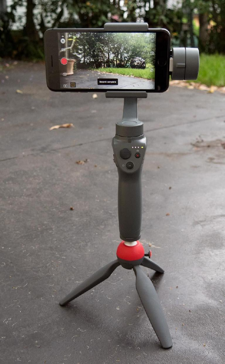 Mounted on a Manfrotto Pixi tripod, after completing a quick motion-lapse shot