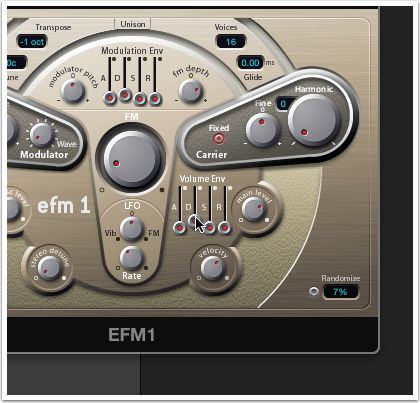 Create the click sound by adjusting EFM1's envelopes.