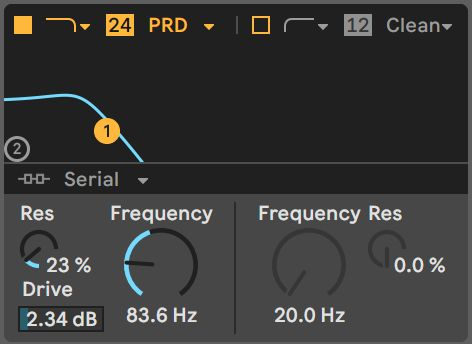 Modulation of a Wavetable's Filter Frequency displays as a blue value exceeding the anchored Automation value.