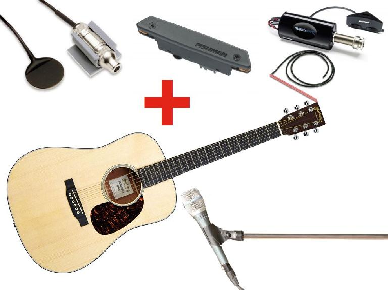 Fig 4 Combining an onboard pickup with a mic can often provide the best results for a live recording