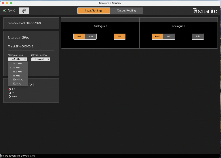 Focusrite Control app (inputs)