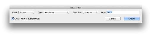 The '˜New Track' dialog.