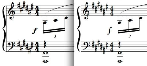 Figure 1: Bravura at left, Logic stock font at right.