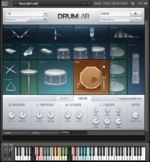 The interface of DrumLab is quick to understand thanks to its appealing visuals.