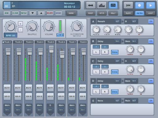 The mixer is easy to use and lets you access global effects as well as project BPM and master volume with limiting.