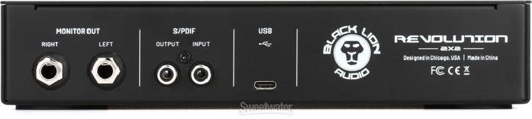 rear panel of Black Lion Audio Revolution 2x2 Audio Interface
