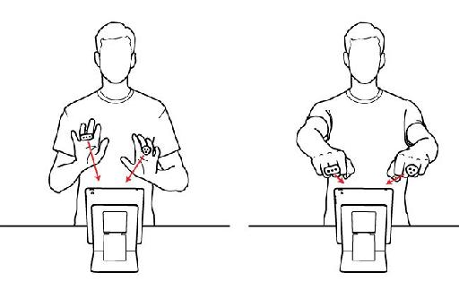 Gestures used for iRing Music Maker.