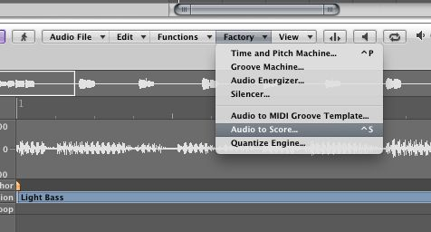 Choose Audio to Score from the Sample Editor's local Factory menu.