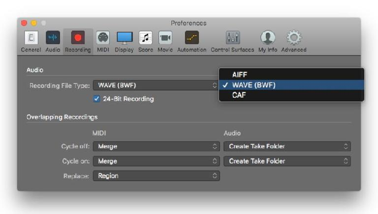 Recording Preference pane